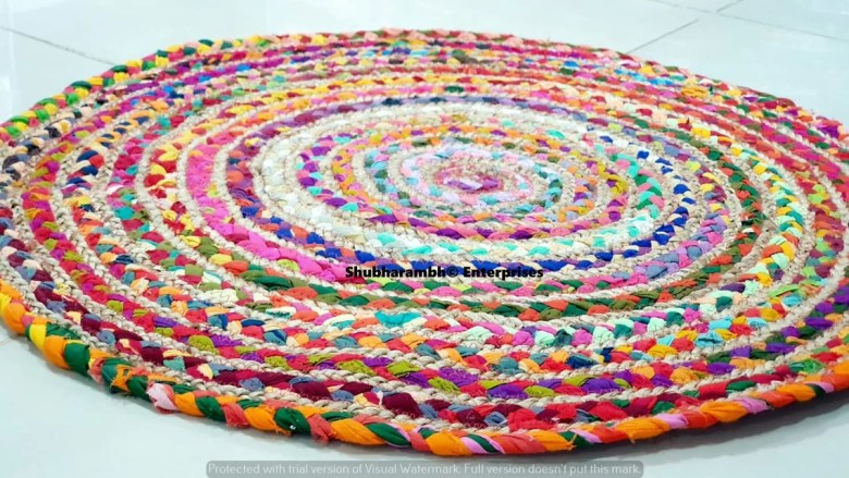 Handmade Jute Fabric Round Rugs by ColourfulHandiCrafts