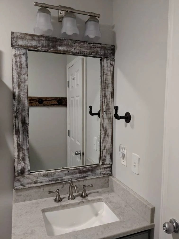custom built rustic farmhouse bathroom wood frame cut to fit your existing mirror bathroom remodel mirror not included