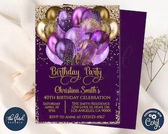 purple invitation etsy