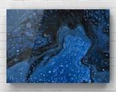 """Fluid Acrylic Pour Painting - """"Deep Blue"""""""