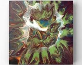 "Fluid Acrylic Pour Painting - ""Dark Berry Burst"""