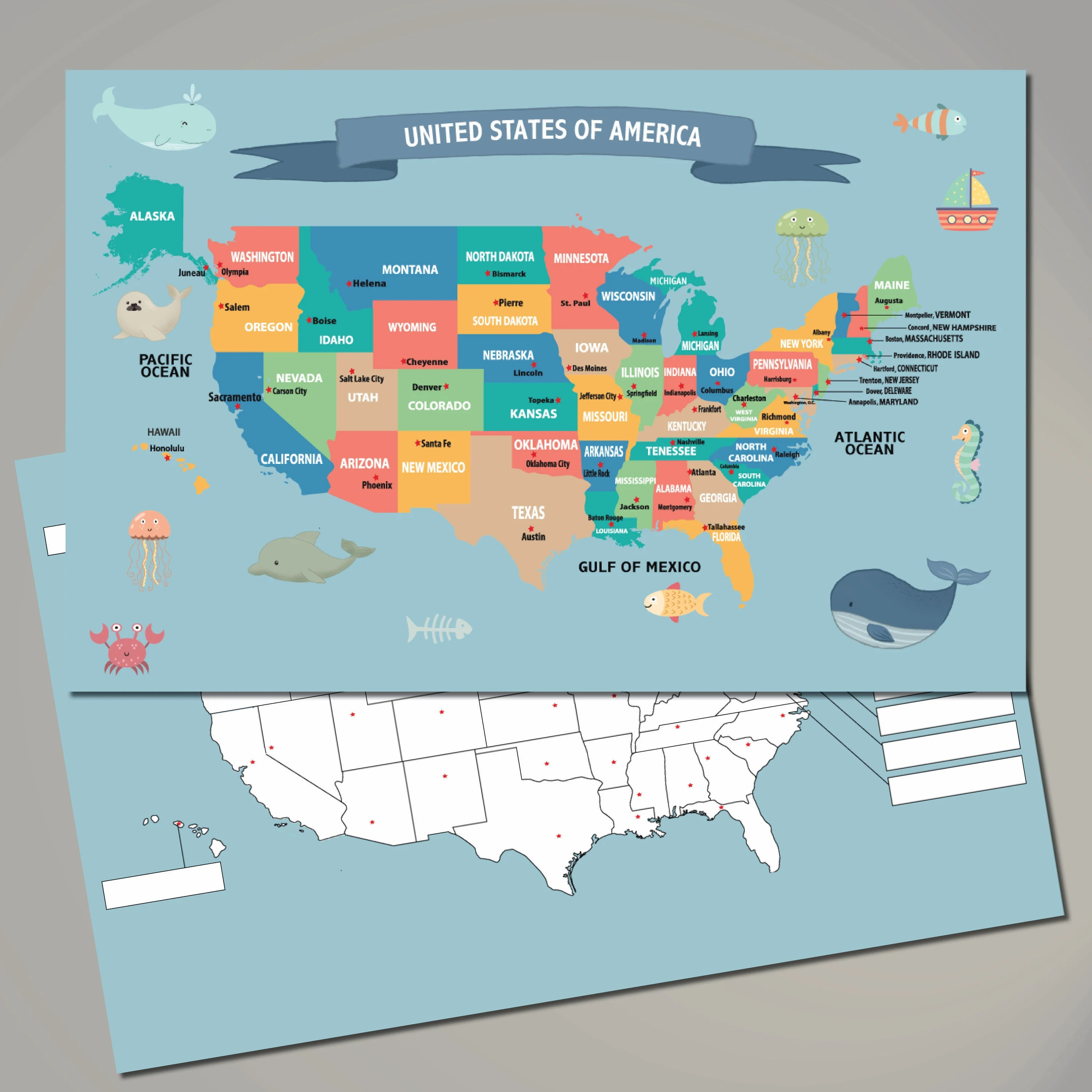 Under the nlc, nurses can practice in other nlc states, without having to. United States Map Placemat Practice Learning States And Capitals