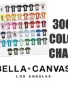 Bella 3001 Color Chart Bella 3001 Unisex T Shirt Color Chart Etsy