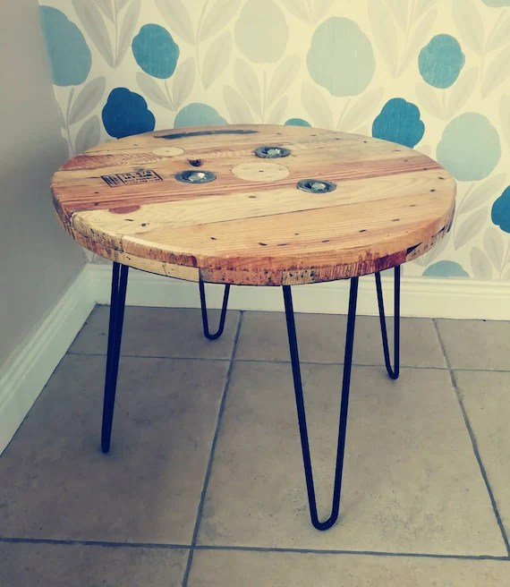 cable reel coffee table on hairpin legs rustic industrial mancave living room lamp wooden reclaimed salvage wood
