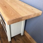 Rustic Freestanding Kitchen Island Breakfast Bar With Chunky Pine Top