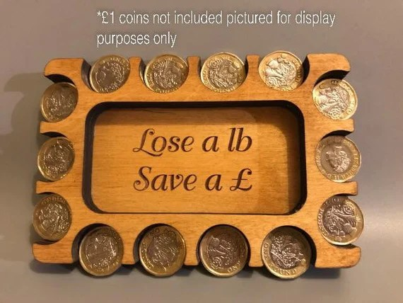 image 0 image 1 image 2 Request a custom order and have something made just for you. Saving Wooden Coin tray for weight loss visual aid - lose weight save money