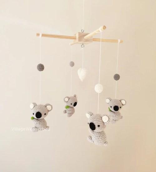 Handmade Crochet Koala Baby Mobile Nursery Decor Baby Shower image 2
