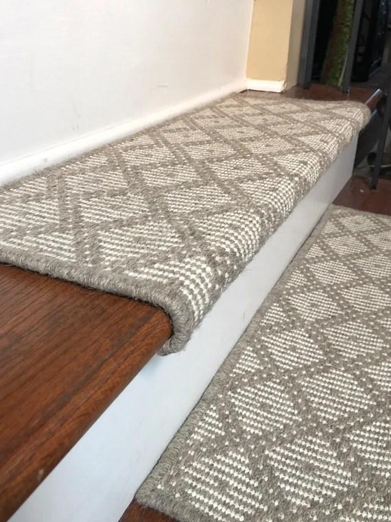 Padded Wool Carpet Stair Treads Tiburon Grey Etsy | Grey Carpet Stair Treads | Slip Resistant | Partly Carpeted | Metal Bar | Silver | Rug