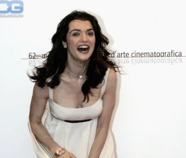 Rachel Weisz In White Dress Cleavage Cute Surprise Candid Photo