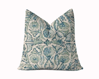 blue green pillow etsy