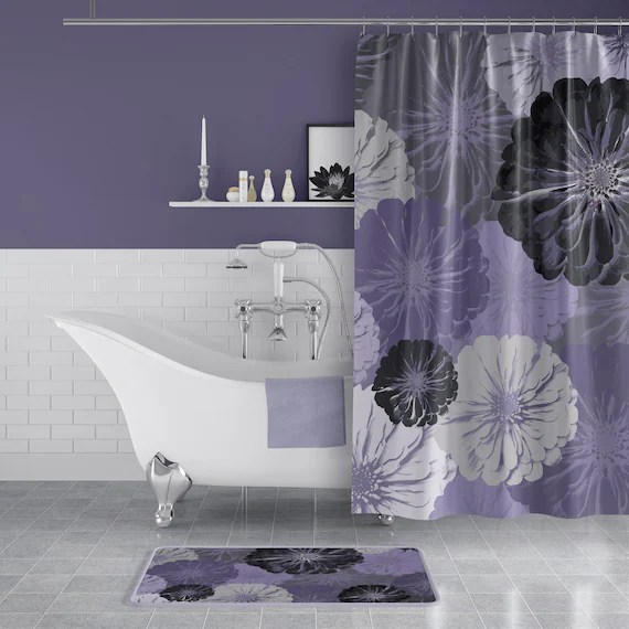 purple and gray floral print fabric shower curtain large scale zinnia flowers for lilac lavender gray bathroom decor