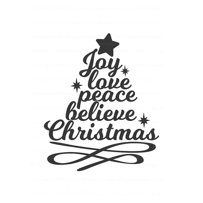Download Joy love peace believe christmas svg christmas tree svg   Etsy