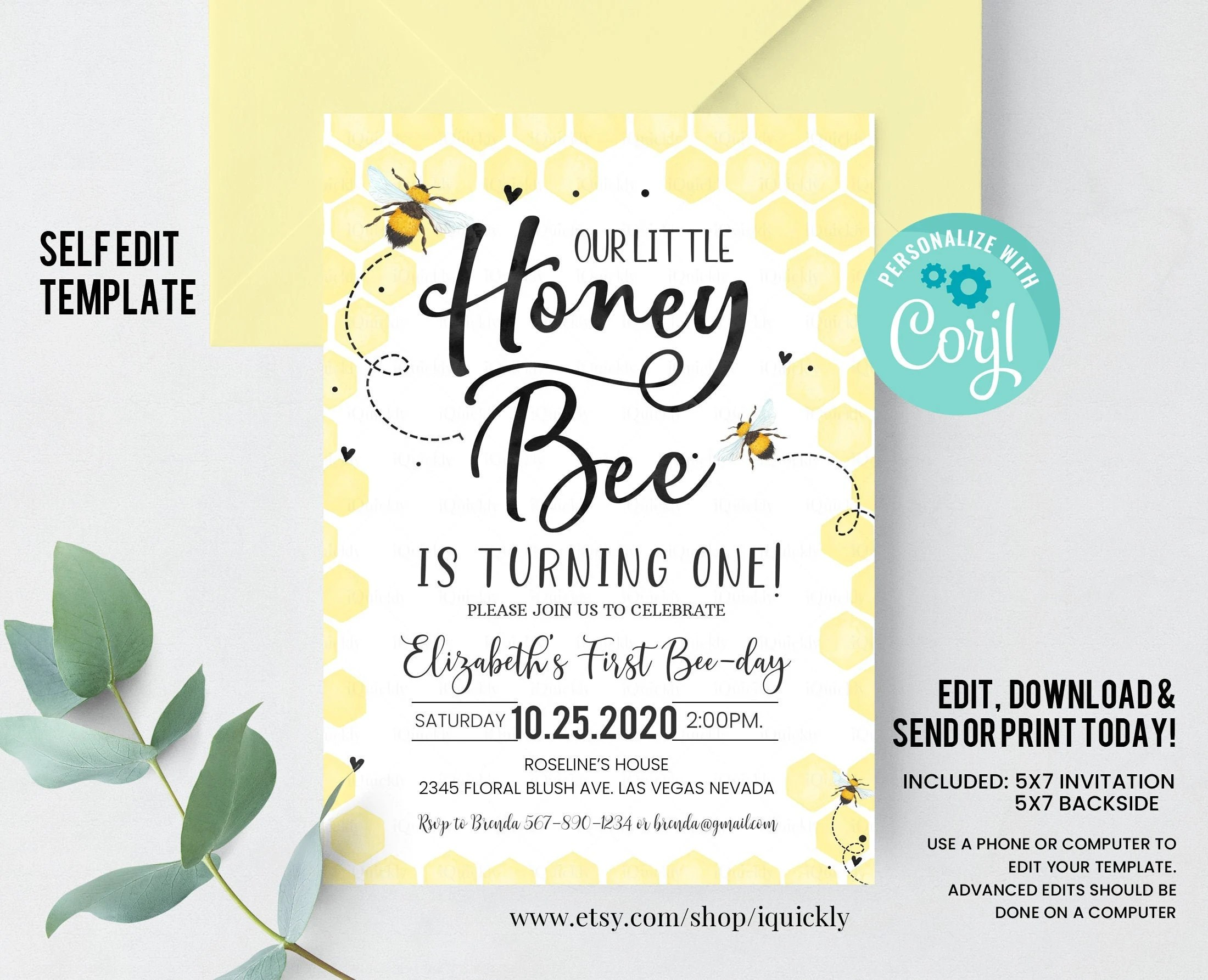 editable bee birthday invitation honey