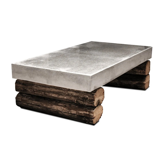 table basse en beton et bois recupere table living room urban industrial loft