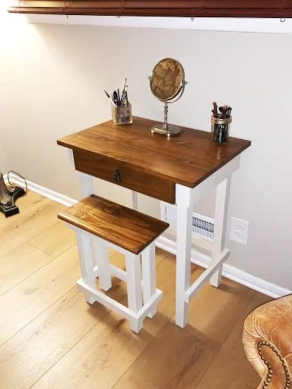 makeup vanity table custom wood table small wood table handmade wood desk rustic wood furniture wood dressing table