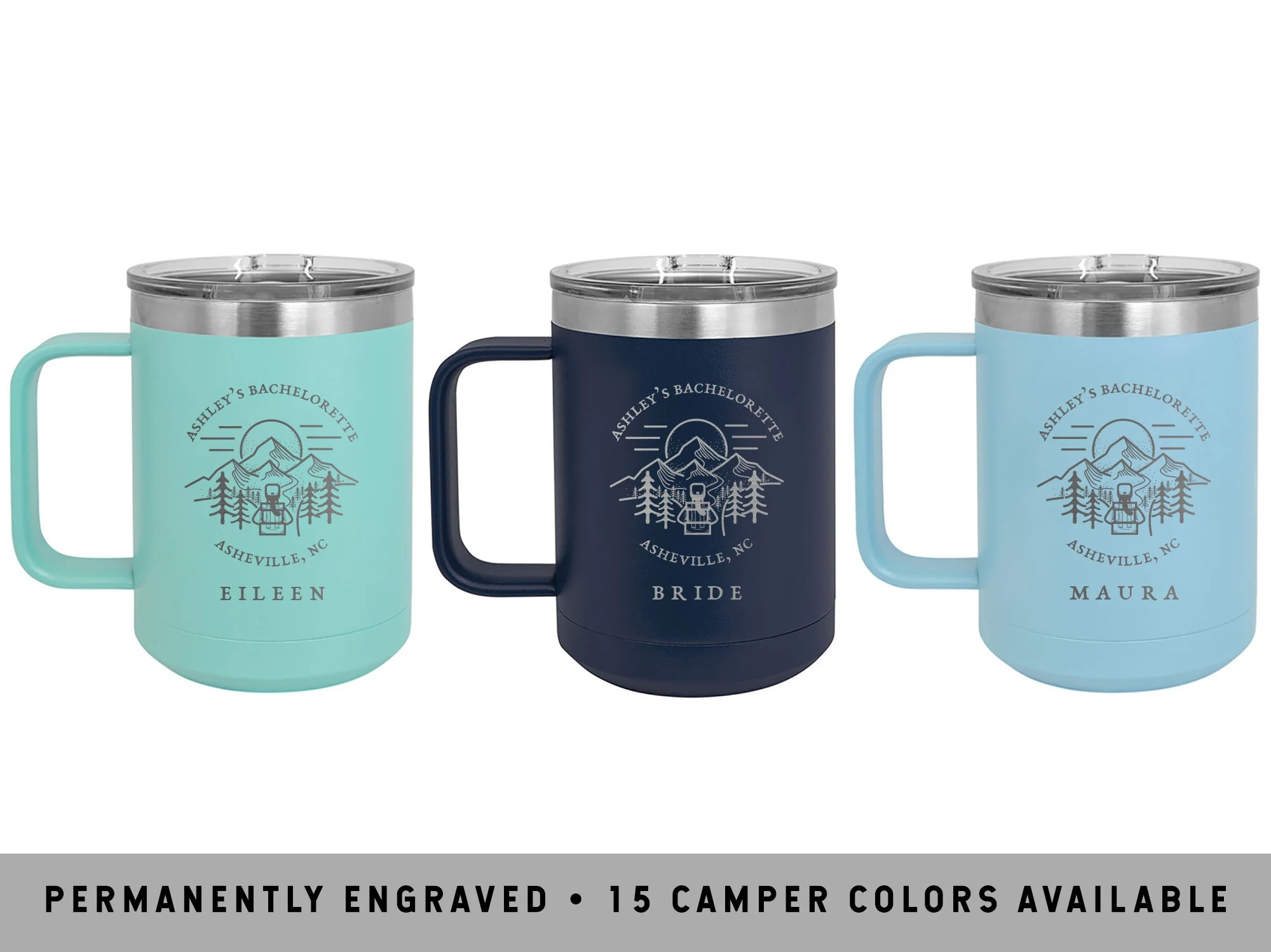5A555d55                                                                                                                   More colours                                                                                        MOUNTAIN TRAILBLAZER MUGS | Glamping Bachelorette Party | Bridal Party Gifts | Bridesmaid Proposals | Hiking Camp Mugs | Rustic Bachelorette                                                                    HandToHeartBridal                               5 out of 5 stars                                                                                                                                                                                                                                                          (277)                                                      CA$34.45                                                              Bestseller