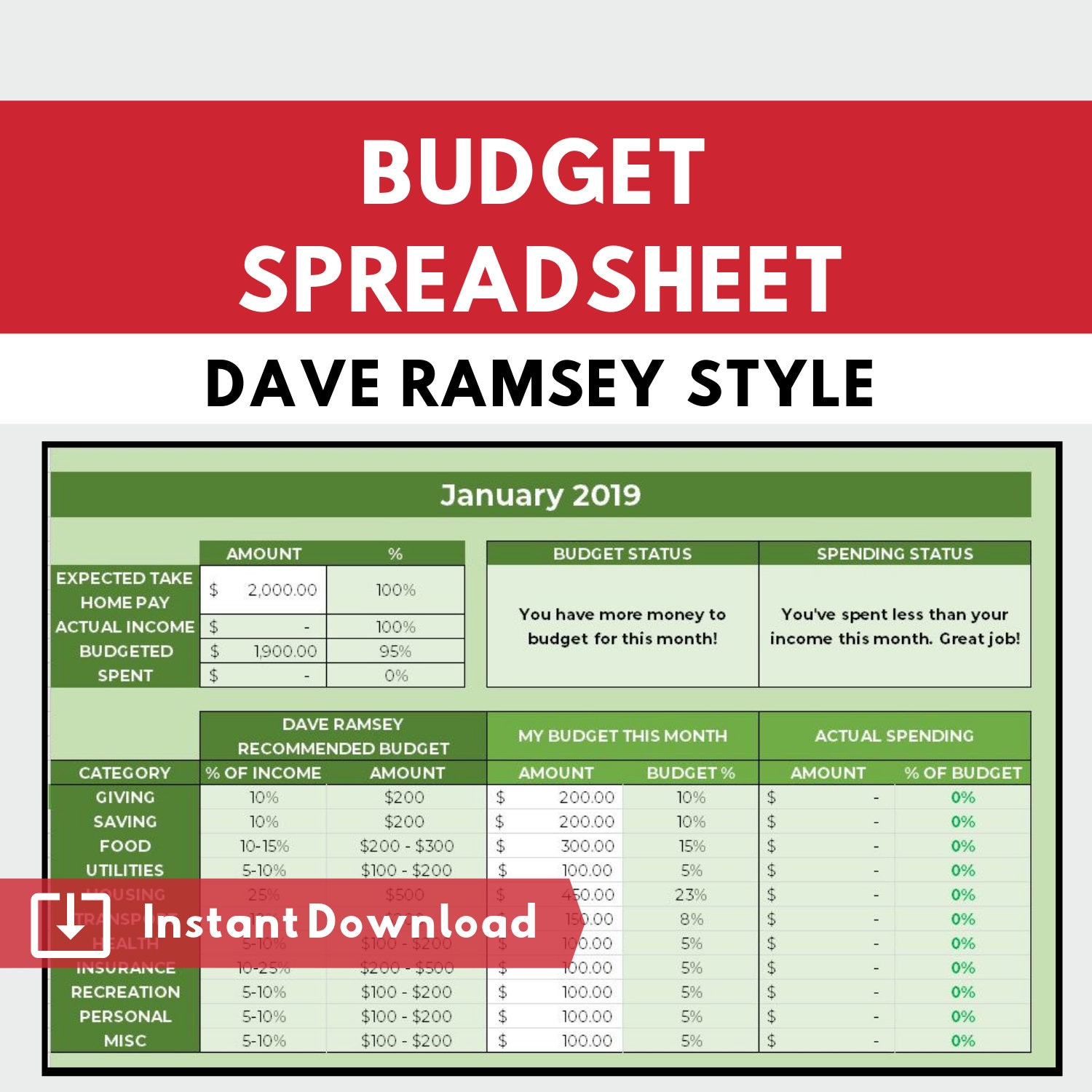 Dave Ramsey Budget Planner Budgeting Spreadsheet