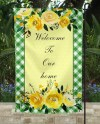 Green Gingham And Yellow Floral Garden Flag Sublimation Etsy