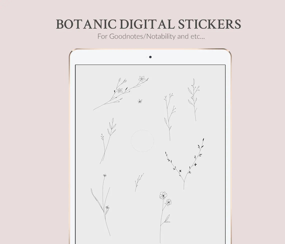 Goodnotes stickers in PNG - Botanic Plant Flower Sketch