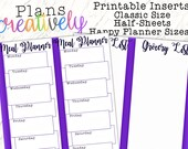 Printable Meal Planning Grocery List Half Sheets for the Classic Size Happy Planner - Print Double Sided - PDF Printer Ready!