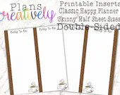 Printable Coffee To Do List Half Sheets for the Classic Size Happy Planner - Print Double Sided - PDF Printer Ready!