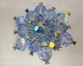 Blue AB Crystal Flower Brooch
