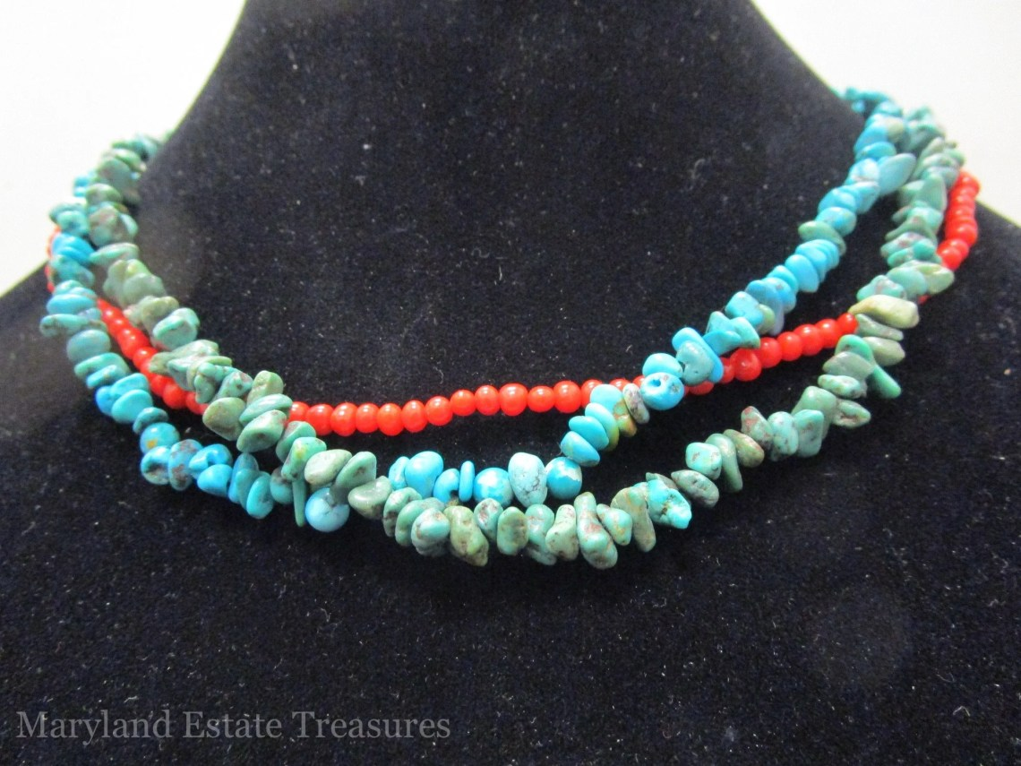 Multi Strand Coral and Turquoise Necklace