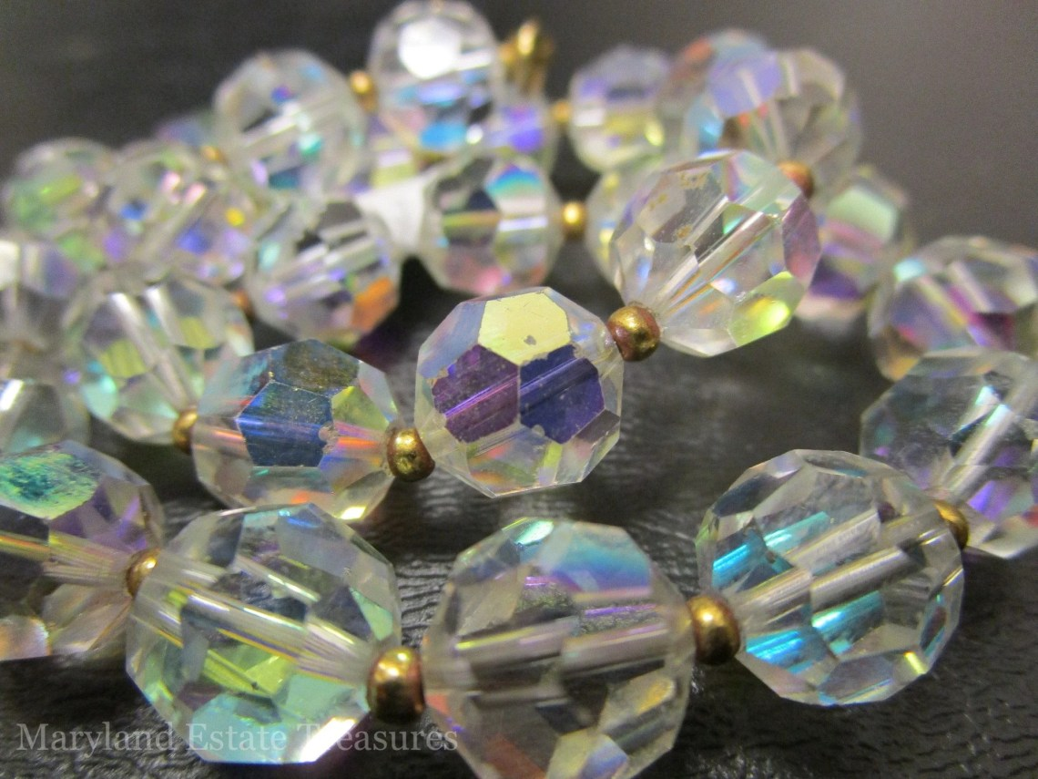 Vintage Strand of AB Crystal Beads - 10 mm