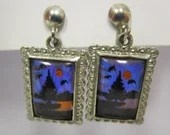 Vintage Silver Art Glass Earrings