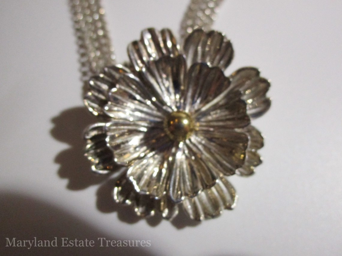Joseph Esposito Sterling Silver Flower Necklace