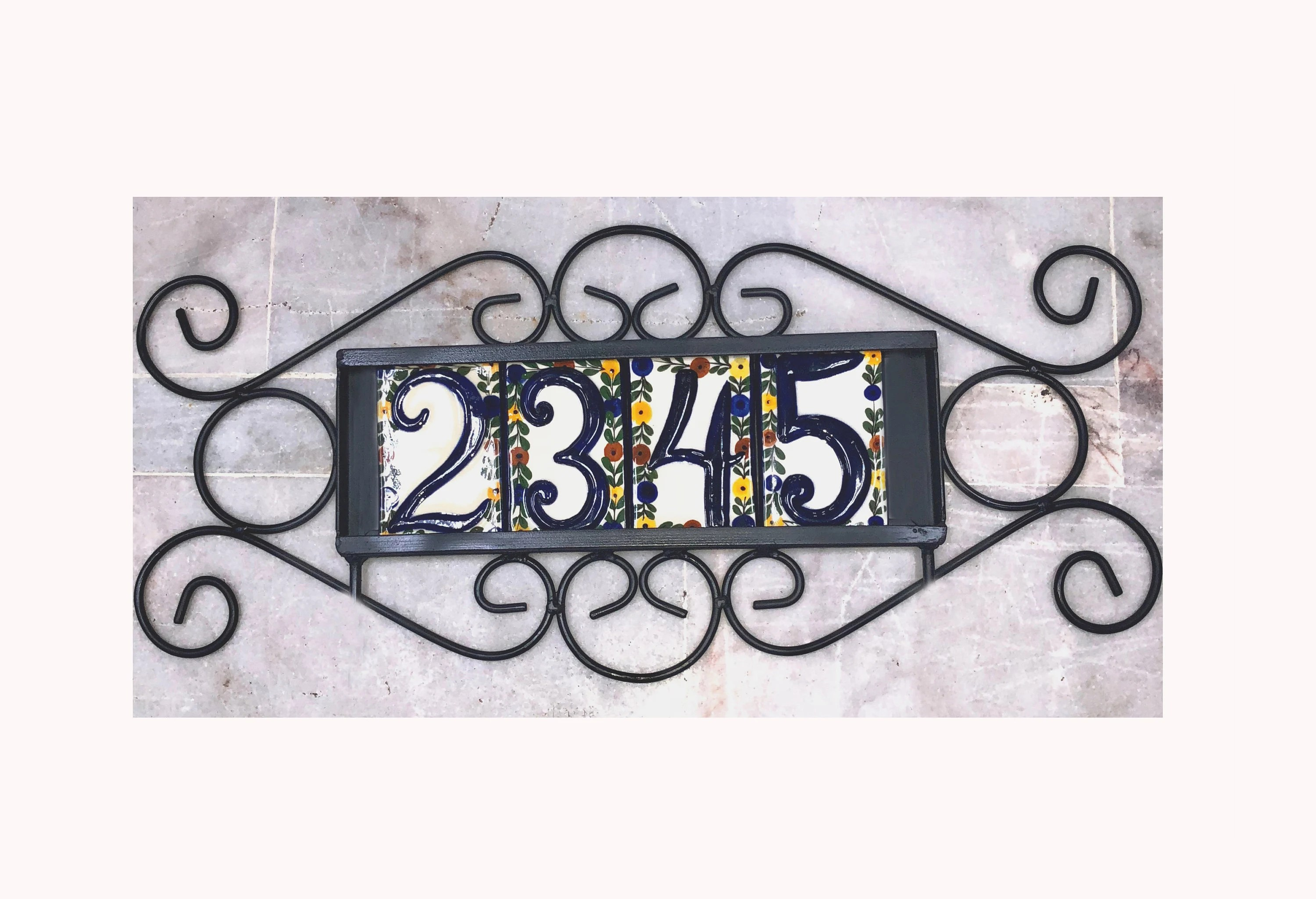 iron frame plaque holder for tiles house numbers home address etsy