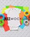 White Baby Bodysuit Mockup Flatlay Infant Blank Display Etsy