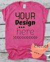 Hot Pink Tshirt Mock Up Blank Shirt Mockup Bright Pink Tee Etsy