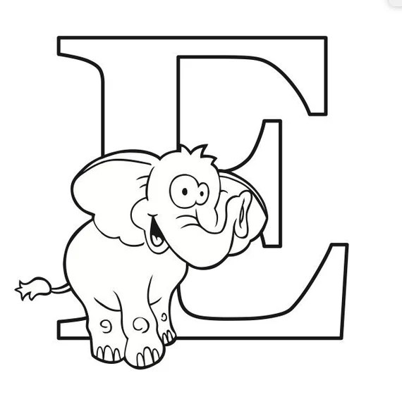 Letter E Coloring Page Etsy