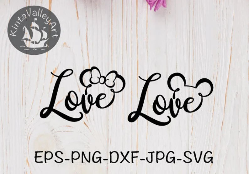 Download Love mickey and minnie SVG cricut silhouette SVG clipart ...