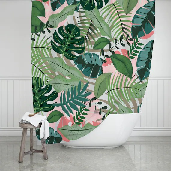 pink and green tropical shower curtain bathroom tropical decor shower bathroom decor jungle palm leaves hawaiian