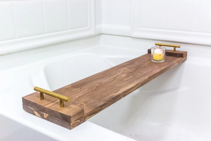 Rustic Wood Bath Tray  Bath Caddy  Birthday Gift For Her  image 2