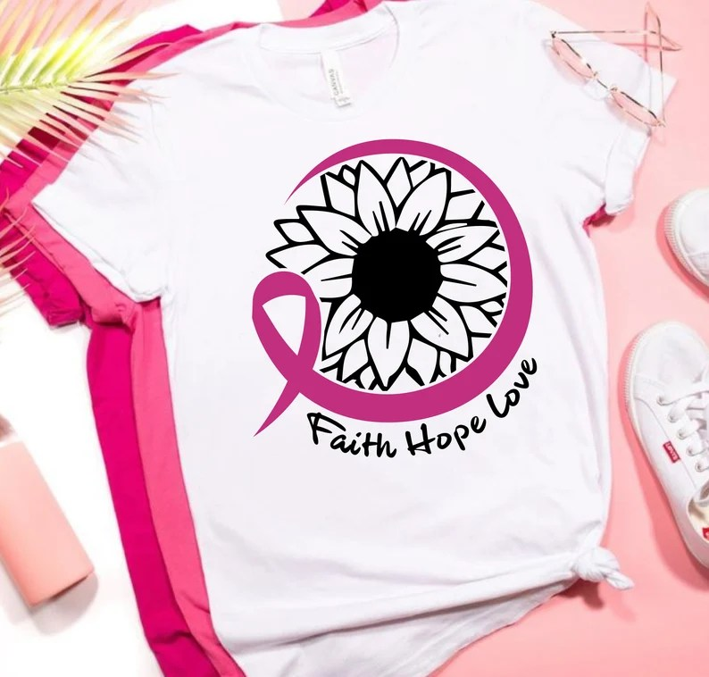 Download Faith Hope Love Sunflower Breast Cancer SVG Cut Files for ...