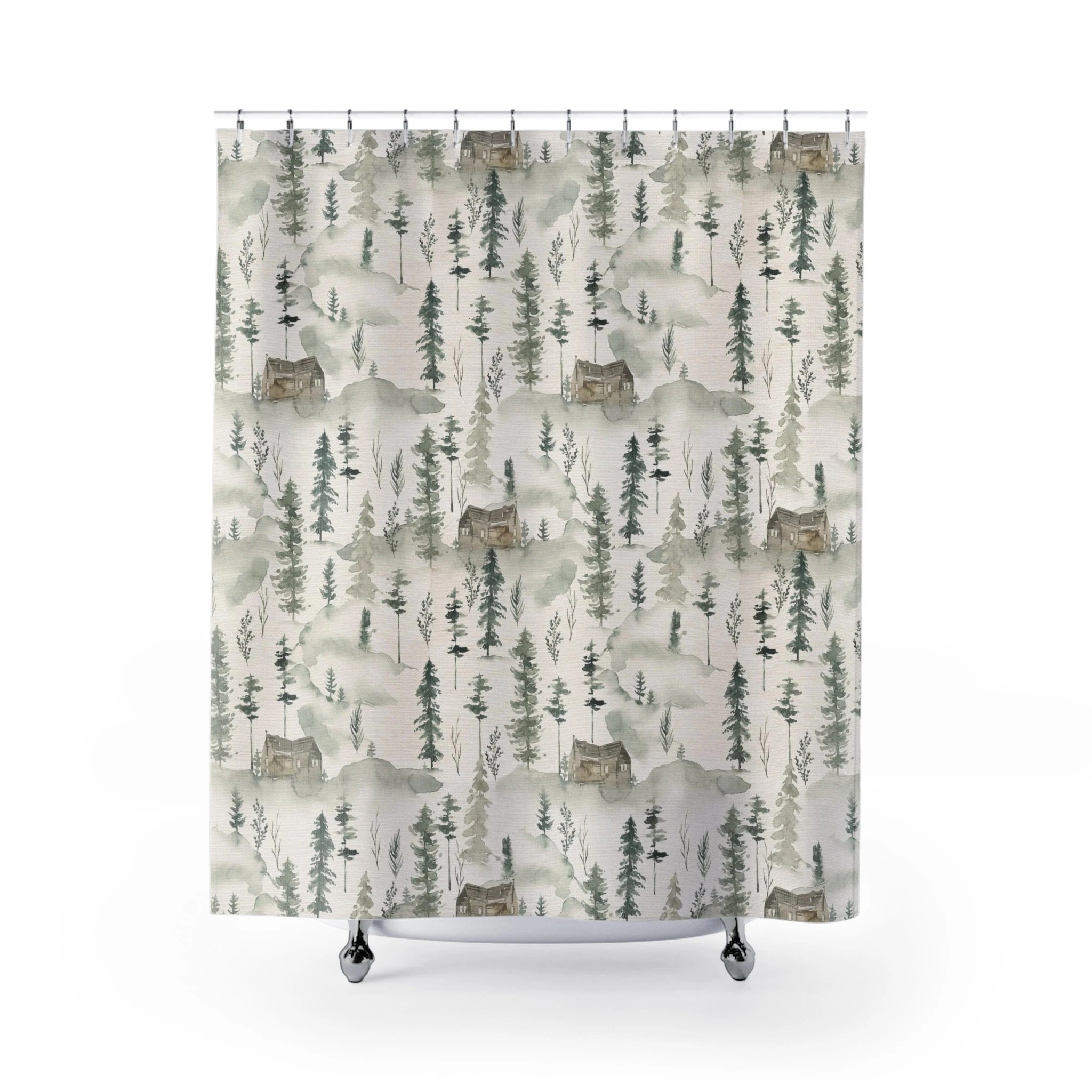 red plaid lodge cabin shower curtains