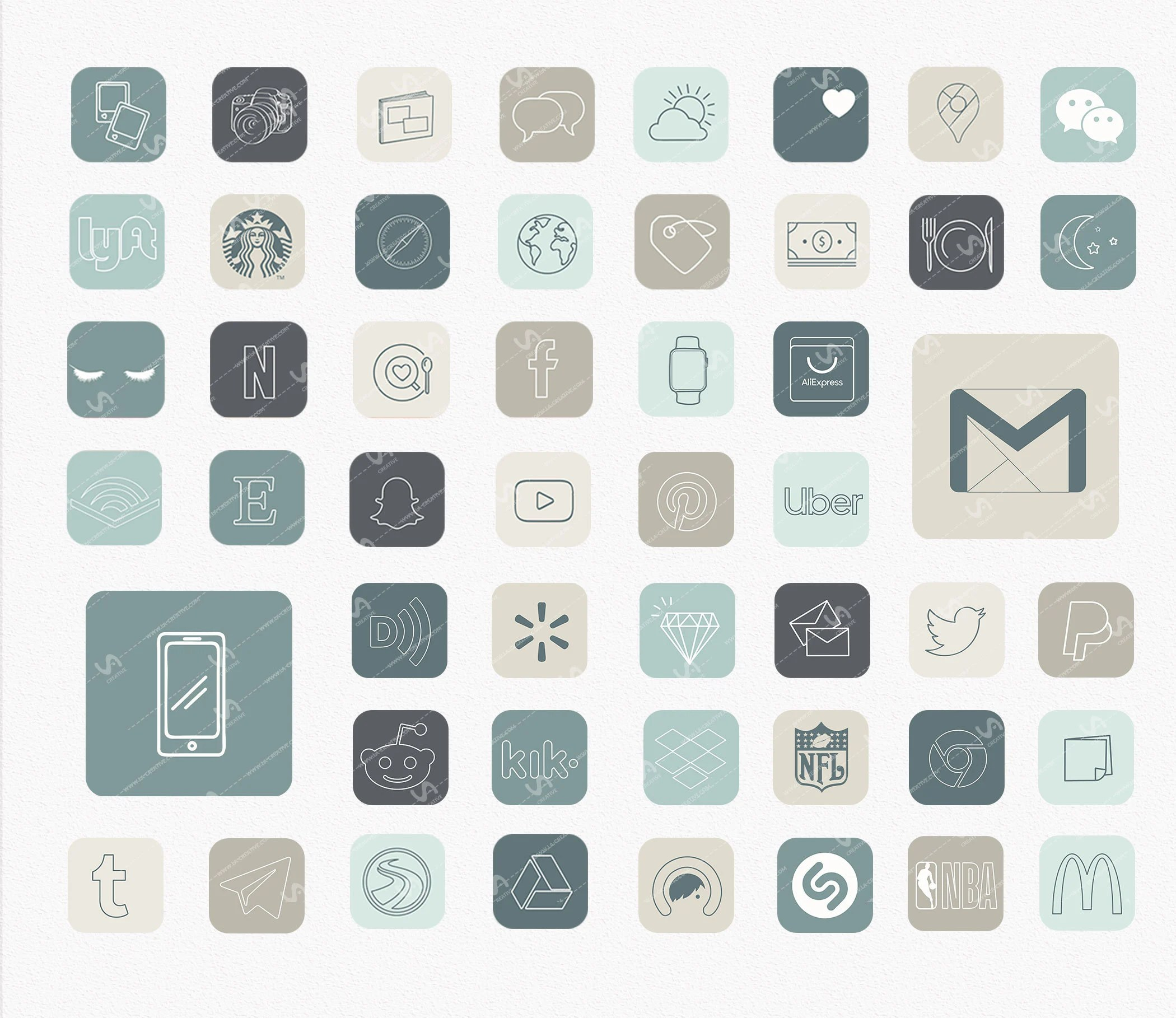 ===== list of app icons in this pack the 300 high … APP ICONS Cool Neutral Aesthetic 127 icons ios14 Light ...