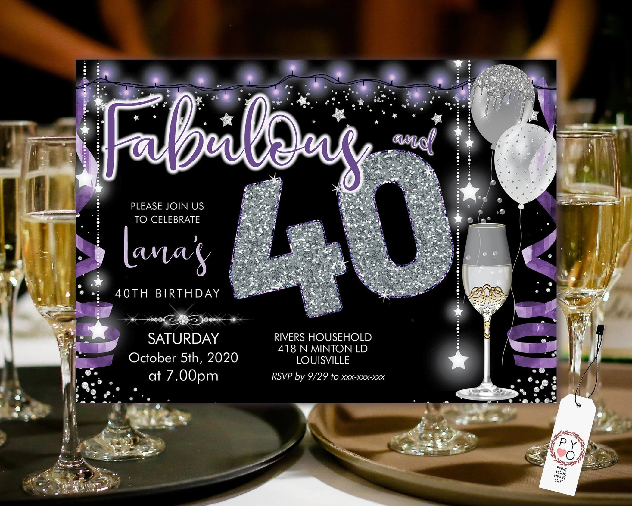 purple silver champagne 40 birthday