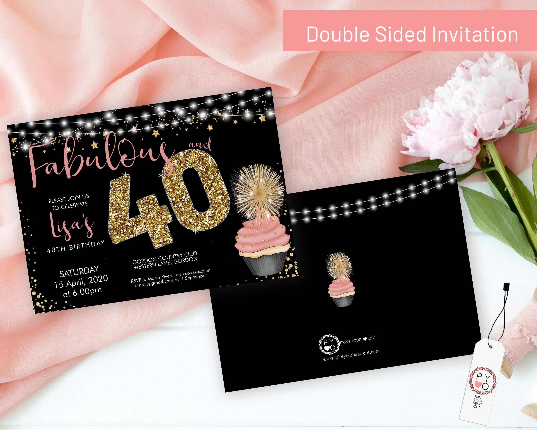 Cupcake 40 Birthday Invitation Printable Template Sparkle