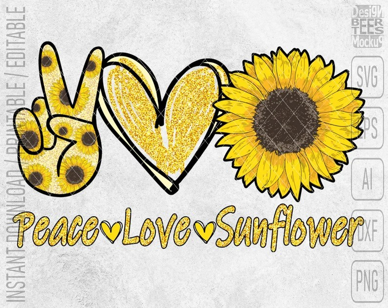 Download Peace Love Sunflower Heart SVG DXF PNG Cut Files Vector | Etsy