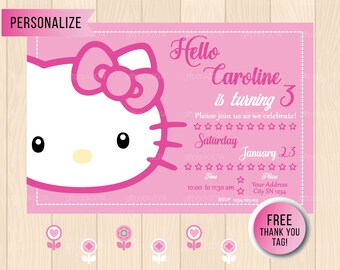 hello kitty birthday invitation etsy