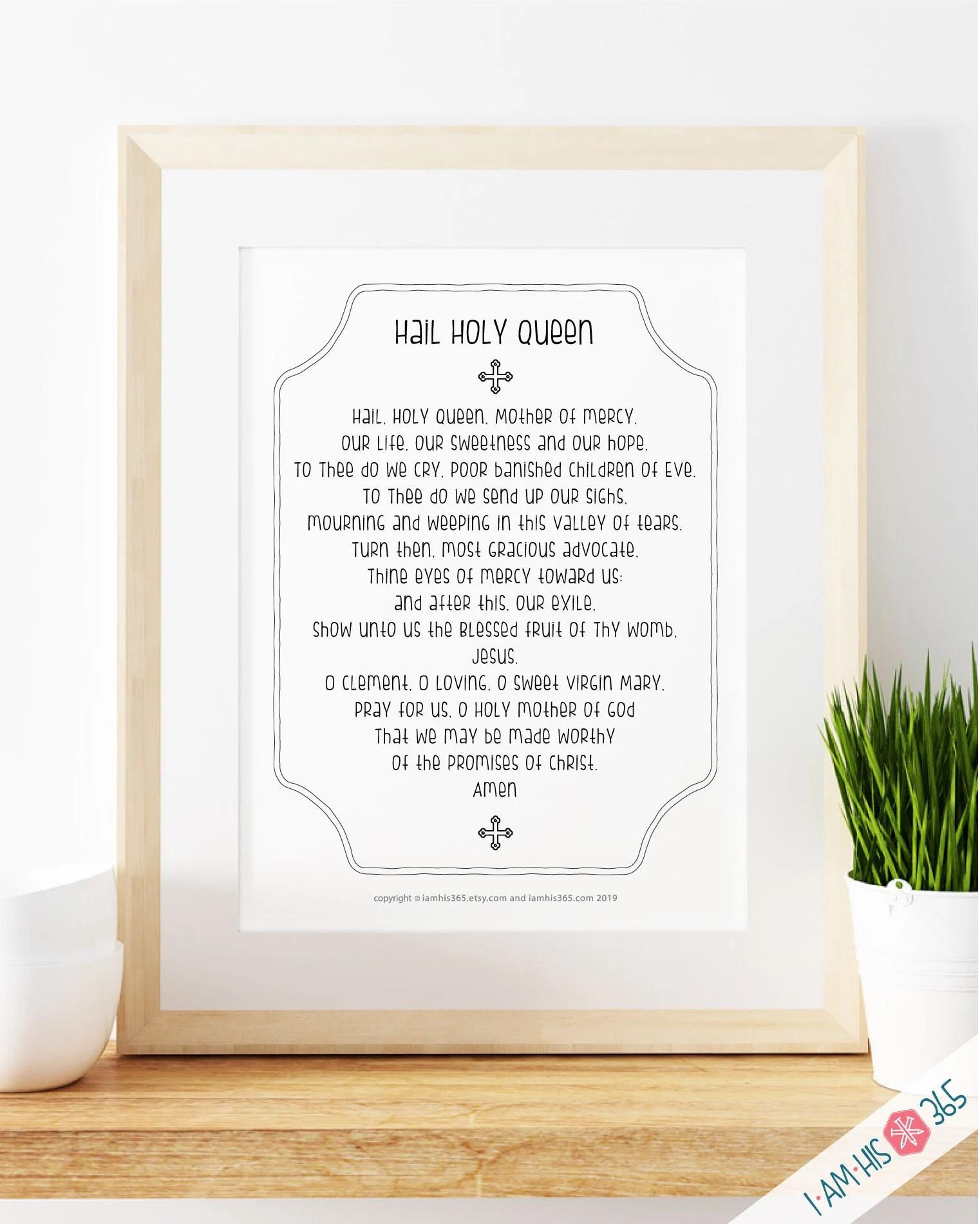 Hail Holy Queen Prayer Print