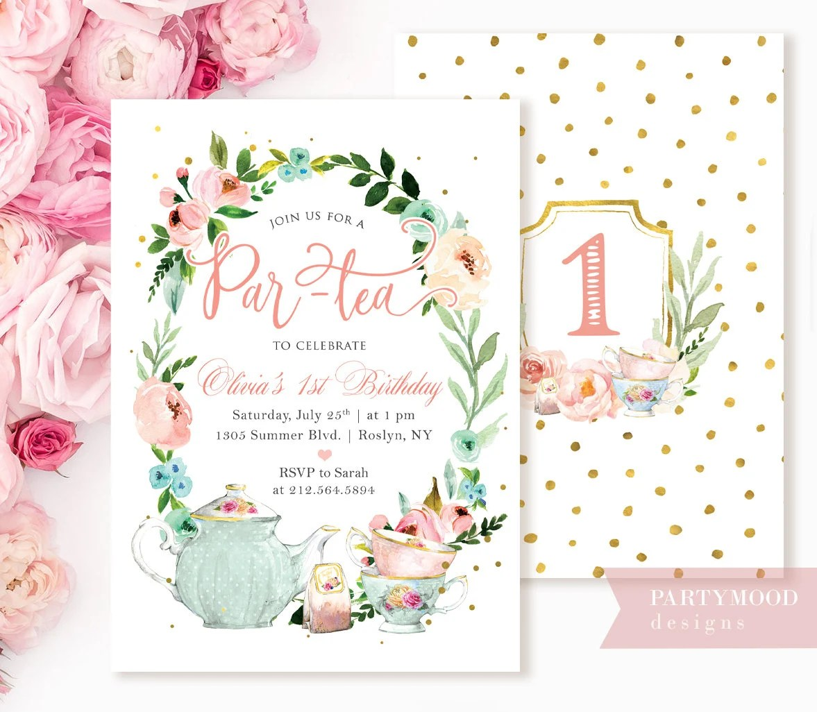 floral tea party birthday invitation girl 1st birthday high tea party invite garden birthday card for girls pastel blush gold flowers