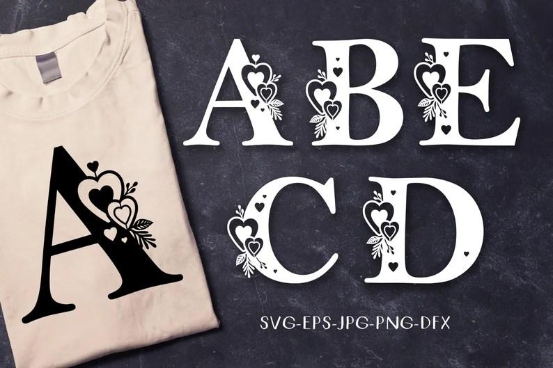 Download Valentine monogram alphabet SVG letters A B C D E font ...