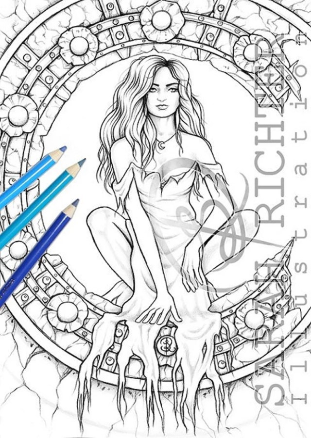 Midnight / Coloring Page - Gothic Fantasy by Sarah Richter / printable  fantasy colouring page for adults