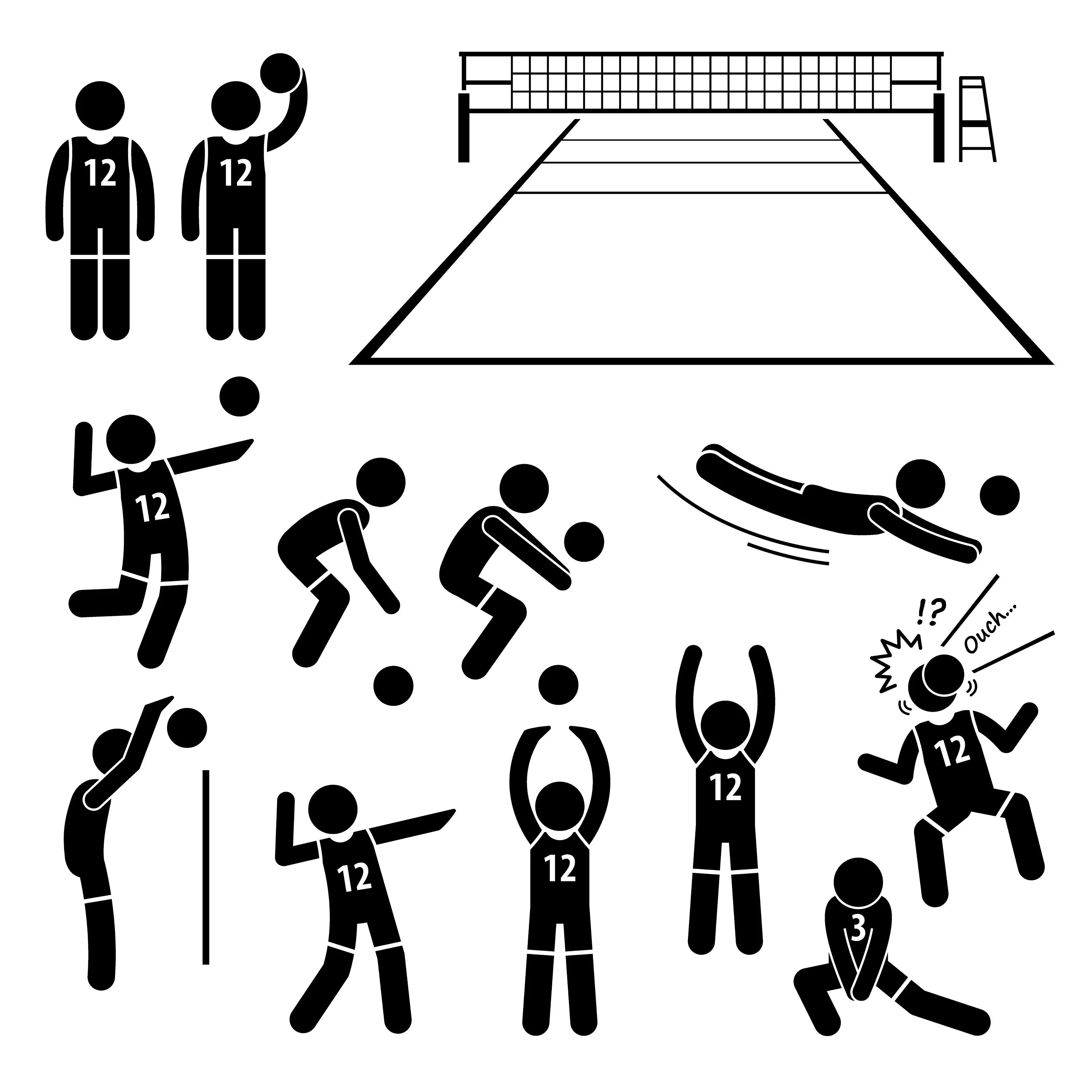 Volleyball Player Sport Athlete Actions Poses Postures
