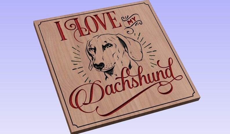 Download I Love My Dachshund crv3d crv dxf ai svg eps pdf | Etsy